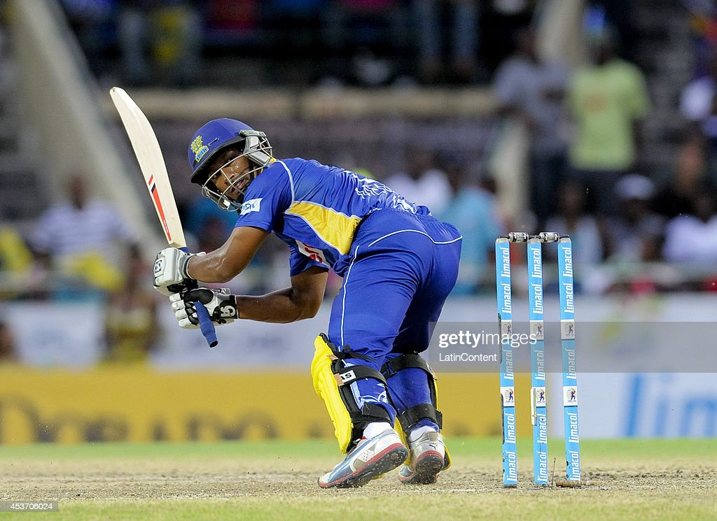 <a gi-track='captionPersonalityLinkClicked' href=/galleries/search?phrase=Jeevan+Mendis&family=editorial&specificpeople=7037737 ng-click='$event.stopPropagation()'>Jeevan Mendis</a> of Barbados Tridents hits for 4 during the Limacol Caribbean Premier League 2014 final match between Guyana Amazon Warriors and Barbados Tridents at Warner Park on August 16, 2014 in Basseterre, St. Kitts and Nevis.