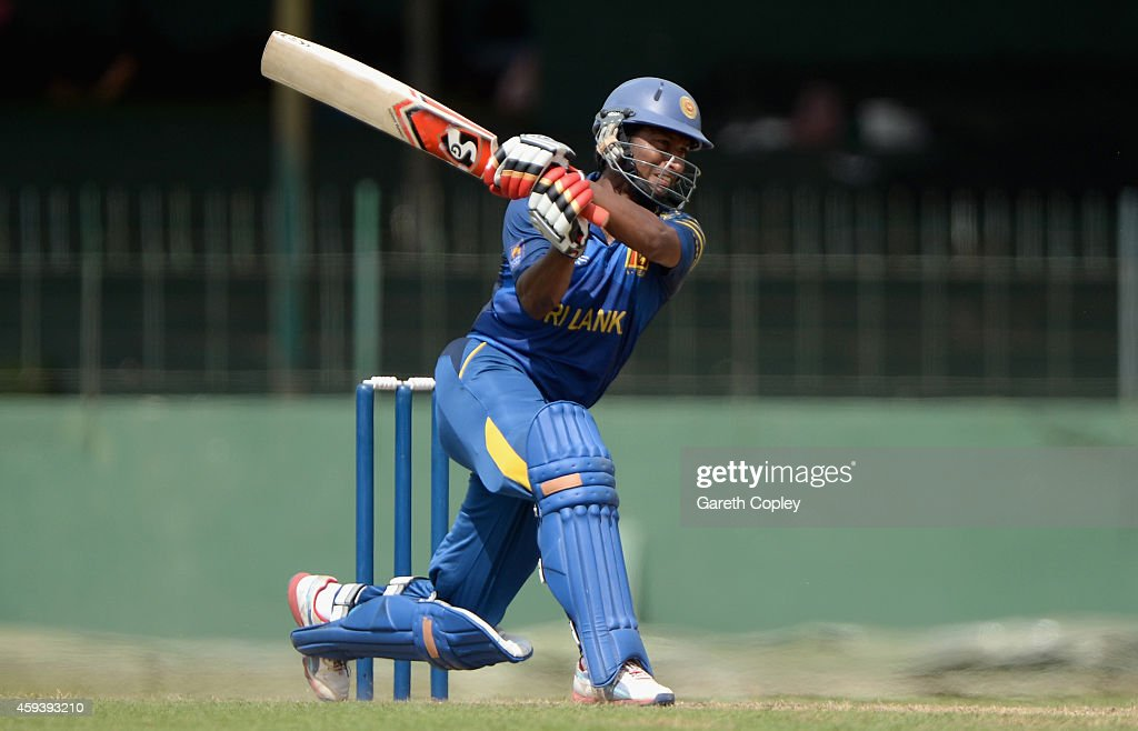 <a gi-track='captionPersonalityLinkClicked' href=/galleries/search?phrase=Jeevan+Mendis&family=editorial&specificpeople=7037737 ng-click='$event.stopPropagation()'>Jeevan Mendis</a> of Sri Lanka A bats during the tour match between between Sri Lanka A and England at Sinhalese Sports Club on November 21, 2014 in Colombo, Sri Lanka.
