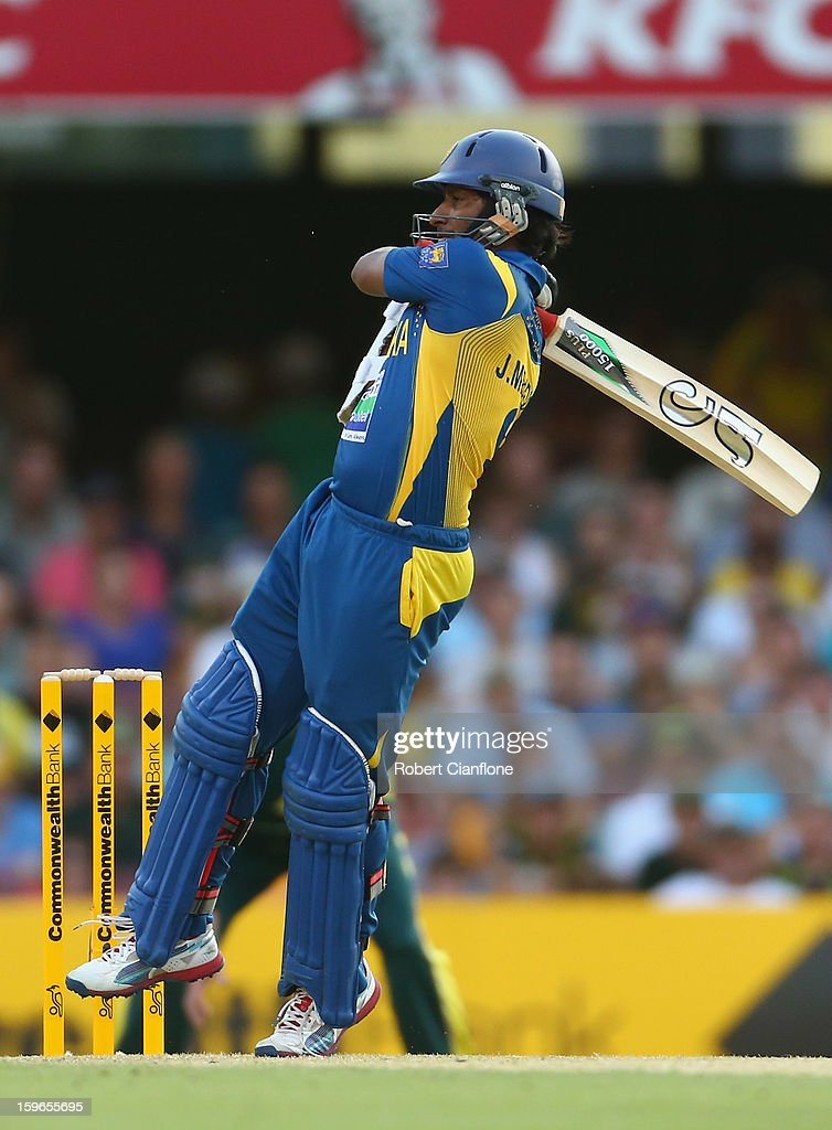 Jeevan Mendis of Sri Lanka hits out during game three of the Commonwealth Bank One Day International Series between Australia and Sri Lanka at The Gabba on January 18, 2013 in Brisbane, Australia.