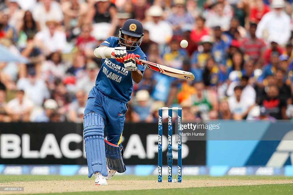 <a gi-track='captionPersonalityLinkClicked' href=/galleries/search?phrase=Jeevan+Mendis&family=editorial&specificpeople=7037737 ng-click='$event.stopPropagation()'>Jeevan Mendis</a> of Sri Lankabats during the One Day International match between New Zealand and Sri Lanka at Hagley Oval on January 11, 2015 in Christchurch, New Zealand.