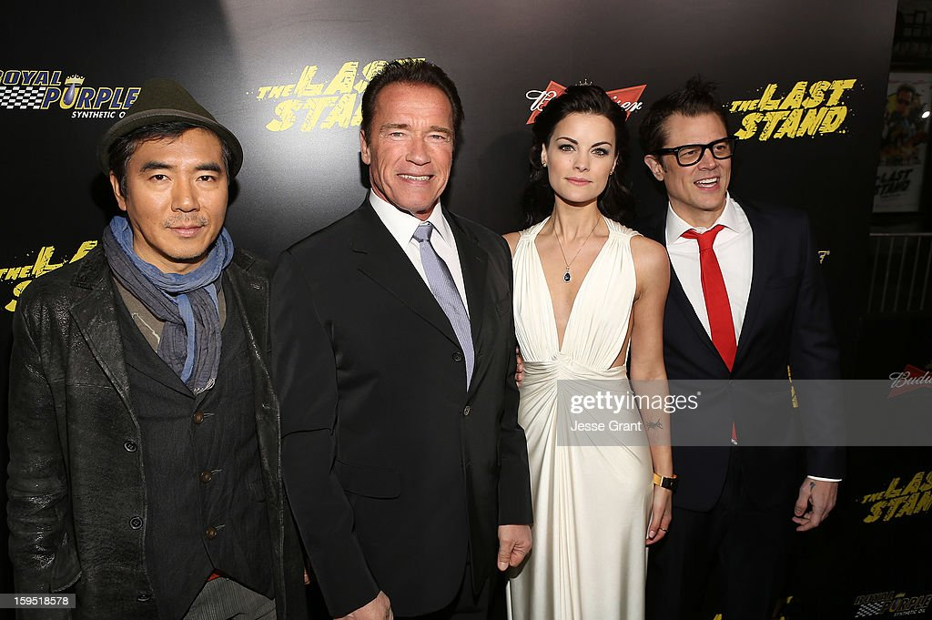 Jee-woon Kim, <a gi-track='captionPersonalityLinkClicked' href=/galleries/search?phrase=Arnold+Schwarzenegger&family=editorial&specificpeople=156406 ng-click='$event.stopPropagation()'>Arnold Schwarzenegger</a>, <a gi-track='captionPersonalityLinkClicked' href=/galleries/search?phrase=Jaimie+Alexander&family=editorial&specificpeople=544496 ng-click='$event.stopPropagation()'>Jaimie Alexander</a> and <a gi-track='captionPersonalityLinkClicked' href=/galleries/search?phrase=Johnny+Knoxville&family=editorial&specificpeople=206210 ng-click='$event.stopPropagation()'>Johnny Knoxville</a> attend 'The Last Stand' World Premiere at Grauman's Chinese Theatre on January 14, 2013 in Hollywood, California.