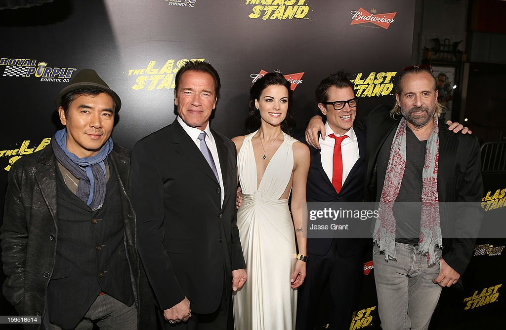 Jee-woon Kim, Arnold Schwarzenegger, Jaimie Alexander, Johnny Knoxville, and Peter Stormare attend 'The Last Stand' World Premiere at Grauman's Chinese Theatre on January 14, 2013 in Hollywood, California.