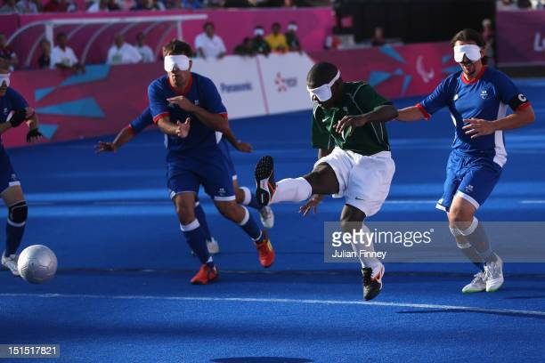 Jeferson da Conceicao Goncalves of Brazil shoots at goal in the gold medal match during the 5 aside Football on day 10 of the London 2012 Paralympic...