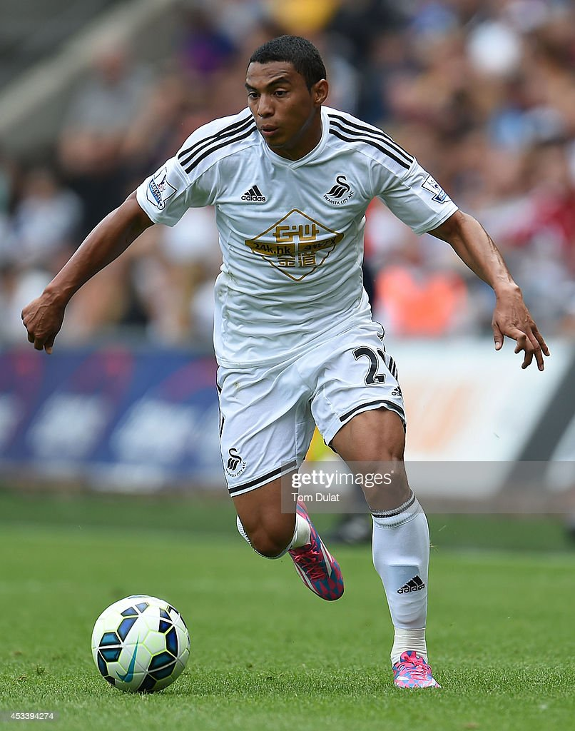 Jeferson Montero of Swansea City in action during a pre season friendly match between Swansea City and Villarreal at Liberty Stadium on August 09, 2014 in Swansea, Wales.