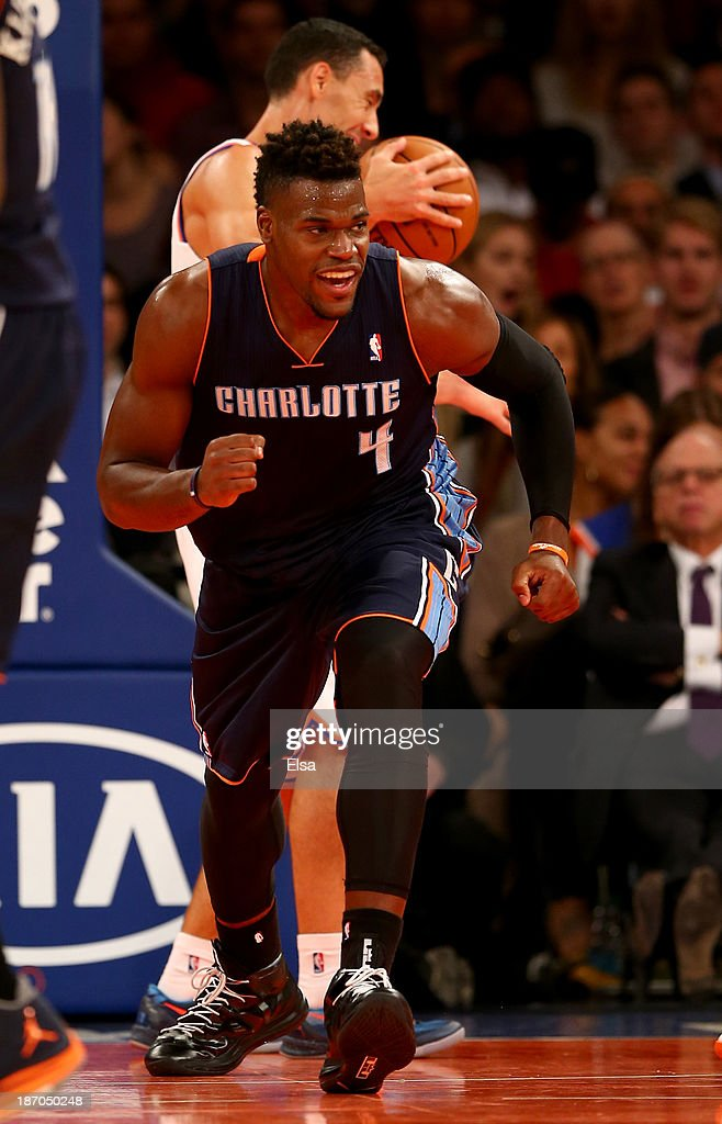 Jeff Adrien #4 of the Charlotte Bobcats celebrates a basket in the fourth quarter against the New York Knicks at Madison Square Garden on November 5, 2013 in New York City.The Charlotte Bobcats defeated the New York Knicks 102-97.