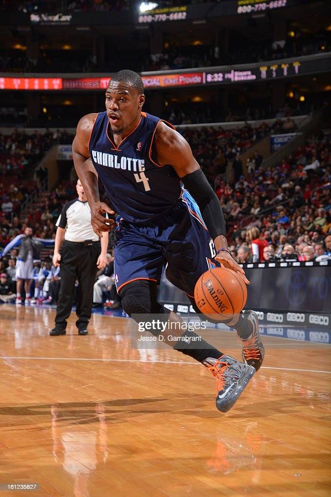 Jeff Adrien #4 of the Charlotte Bobcats dribbles to the basket against the Philadelphia 76ers during the game at the Wells Fargo Center on February 9, 2013 in Philadelphia, Pennsylvania.