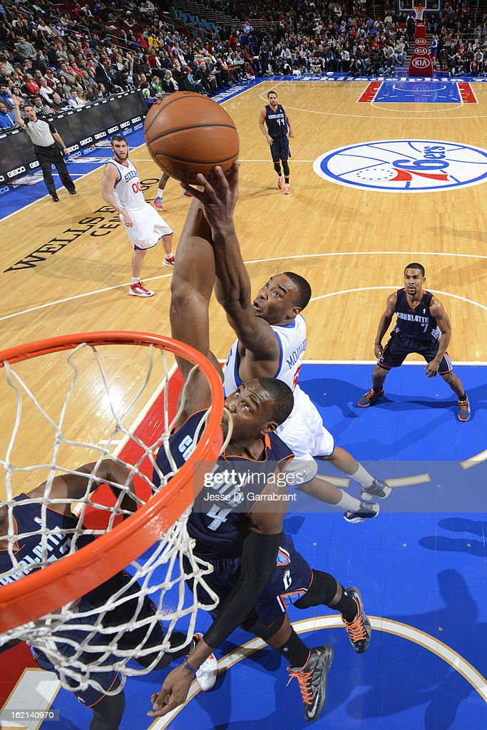 <a gi-track='captionPersonalityLinkClicked' href=/galleries/search?phrase=Jeff+Adrien&family=editorial&specificpeople=727235 ng-click='$event.stopPropagation()'>Jeff Adrien</a> #4 of the Charlotte Bobcats goes up for a rebound against <a gi-track='captionPersonalityLinkClicked' href=/galleries/search?phrase=Arnett+Moultrie&family=editorial&specificpeople=5759676 ng-click='$event.stopPropagation()'>Arnett Moultrie</a> #5 of the Philadelphia 76ers at the Wells Fargo Center on February 9, 2013 in Philadelphia, Pennsylvania.