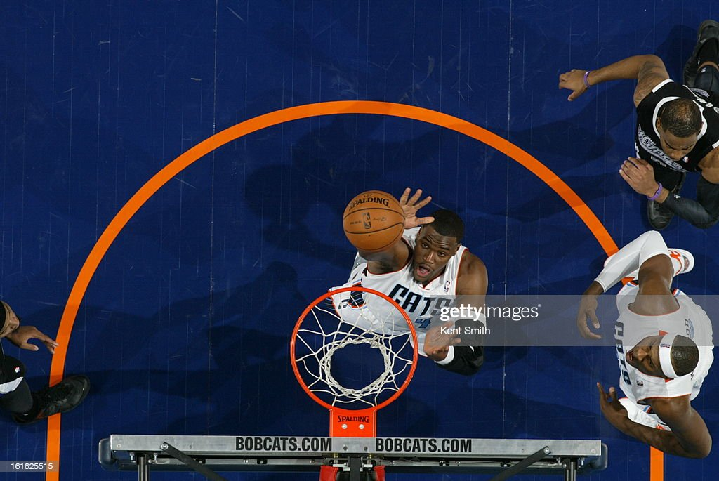 <a gi-track='captionPersonalityLinkClicked' href=/galleries/search?phrase=Jeff+Adrien&family=editorial&specificpeople=727235 ng-click='$event.stopPropagation()'>Jeff Adrien</a> #4 of the Charlotte Bobcats grabs a rebound against the Sacramento Kings at the Time Warner Cable Arena on January 19, 2013 in Charlotte, North Carolina.