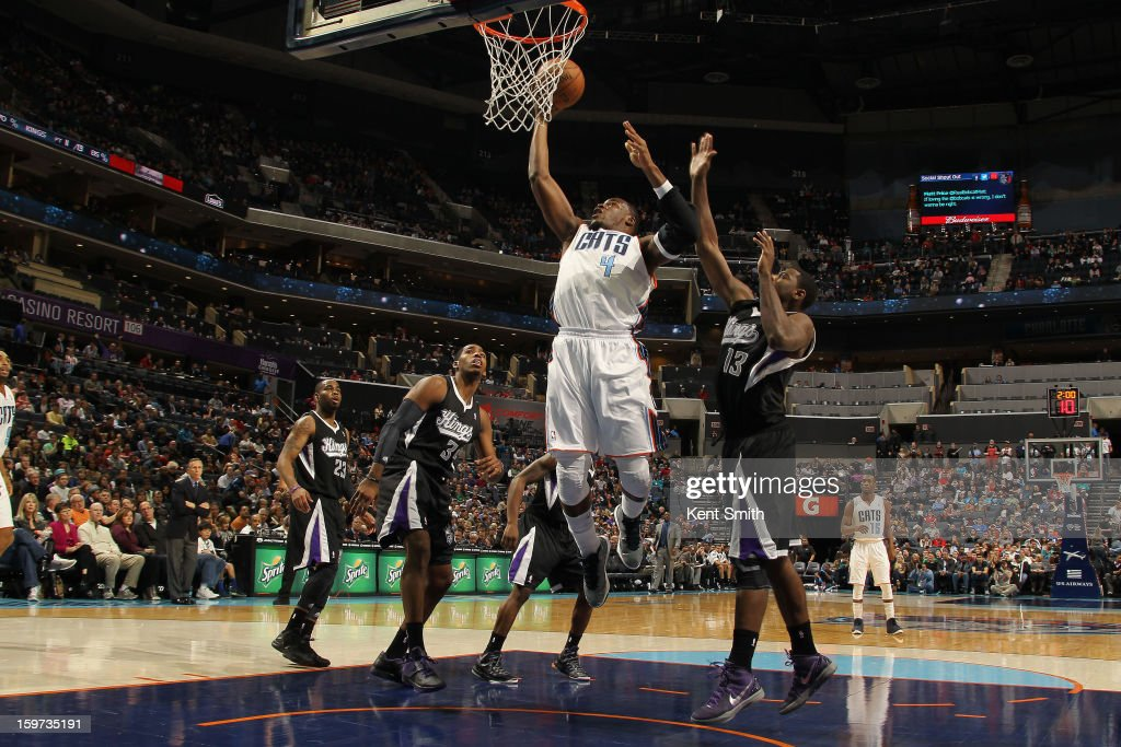 Jeff Adrien #4 of the Charlotte Bobcats shoots against the Sacramento Kings at the Time Warner Cable Arena on January 19, 2013 in Charlotte, North Carolina.