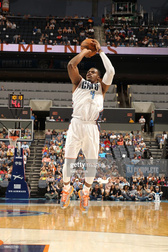 Jeff Adrien #4 of the Charlotte Bobcats shoots the ball against the Cleveland Cavaliers at the Time Warner Cable Arena on April 17, 2013 in Charlotte, North Carolina.
