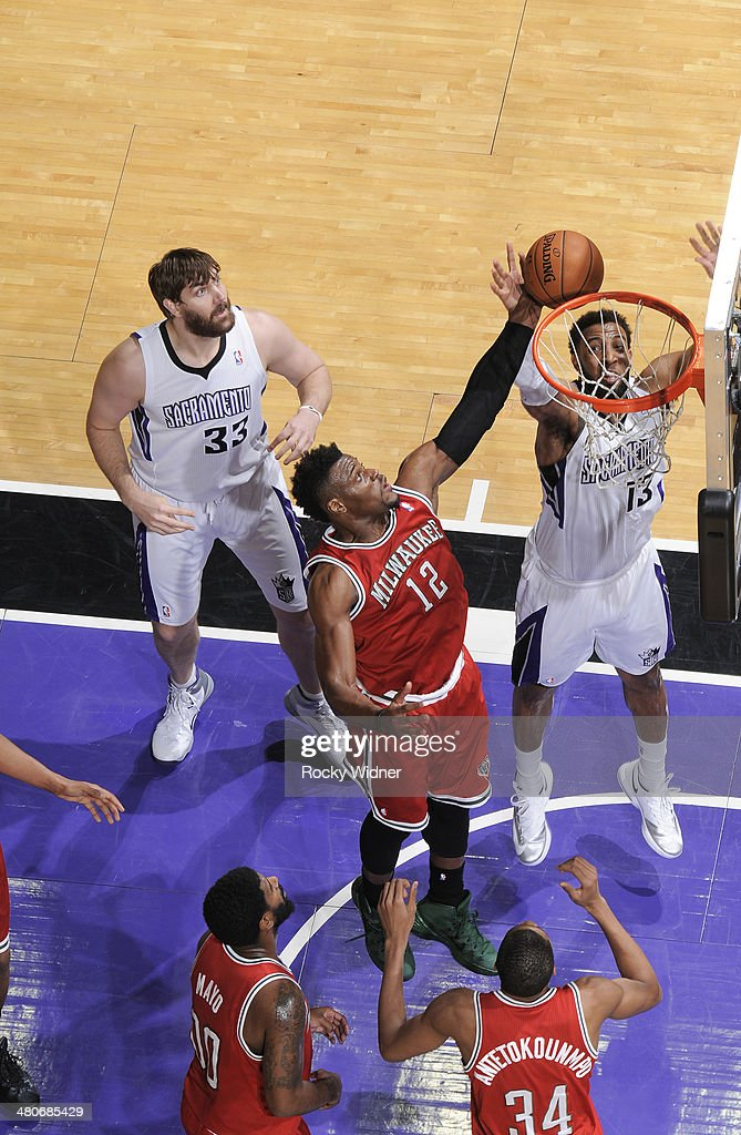 <a gi-track='captionPersonalityLinkClicked' href=/galleries/search?phrase=Jeff+Adrien&family=editorial&specificpeople=727235 ng-click='$event.stopPropagation()'>Jeff Adrien</a> #12 of the Milwaukee Bucks rebounds against Derrick Williams #13 of the Sacramento Kings on March 23, 2014 at Sleep Train Arena in Sacramento, California.