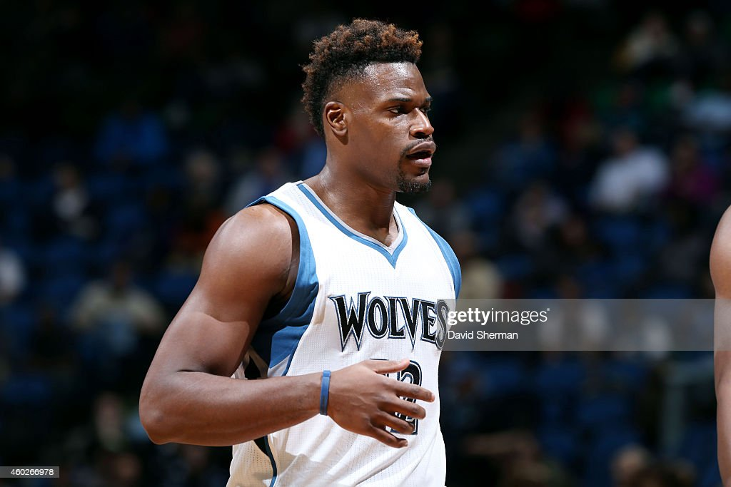 <a gi-track='captionPersonalityLinkClicked' href=/galleries/search?phrase=Jeff+Adrien&family=editorial&specificpeople=727235 ng-click='$event.stopPropagation()'>Jeff Adrien</a> #12 of the Minnesota Timberwolves stands on the court during a game against the Portland Trail Blazers on December 10, 2014 at Target Center in Minneapolis, Minnesota.