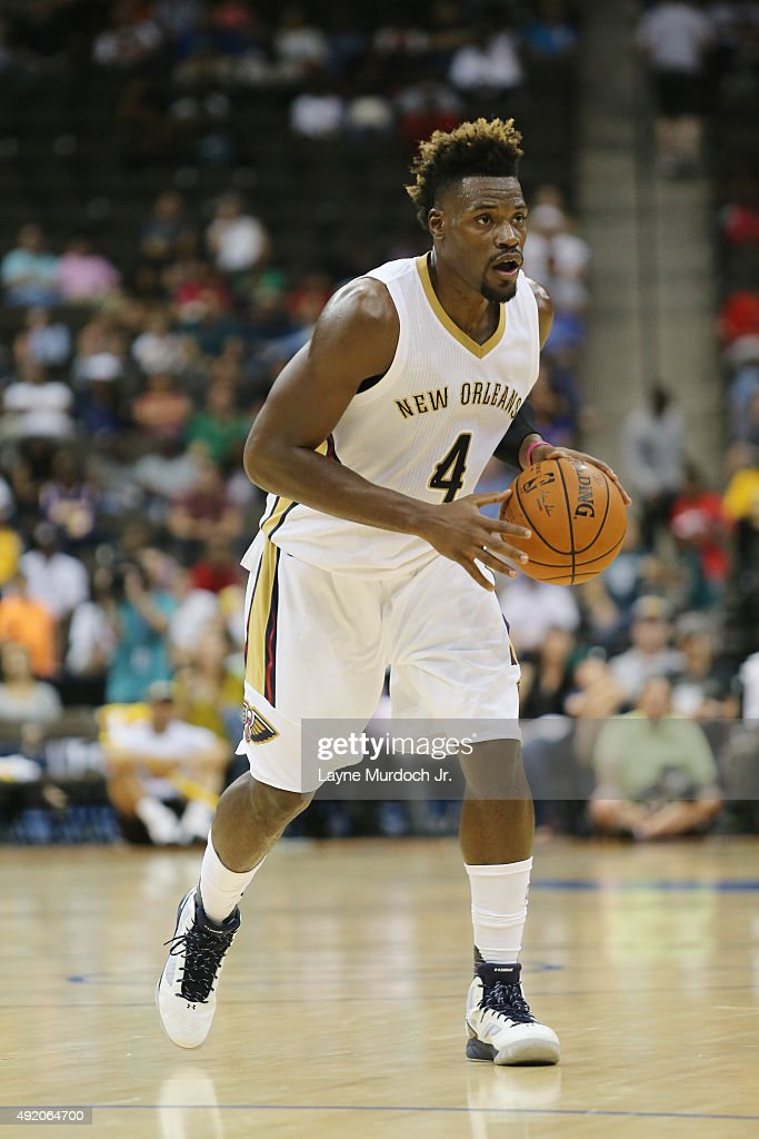 <a gi-track='captionPersonalityLinkClicked' href=/galleries/search?phrase=Jeff+Adrien&family=editorial&specificpeople=727235 ng-click='$event.stopPropagation()'>Jeff Adrien</a> #4 of the New Orleans Pelicans handles the ball against the Atlanta Hawks during a preseason game on October 9, 2015 at the Jacksonville Veterans Memorial Arena in Jacksonville, Florida.