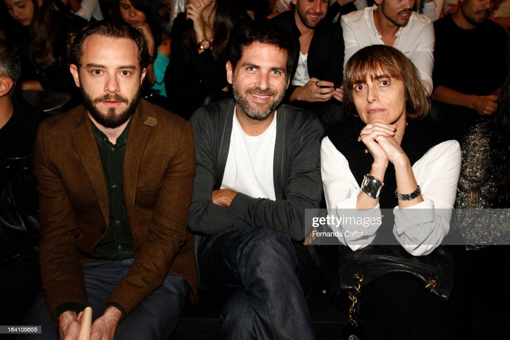 Jeff Aires,Dudi Machado and Patricia Carta attends the Ellus show during Sao Paulo Fashion Week Summer 2013/2014 on March 19, 2013 in Sao Paulo, Brazil.