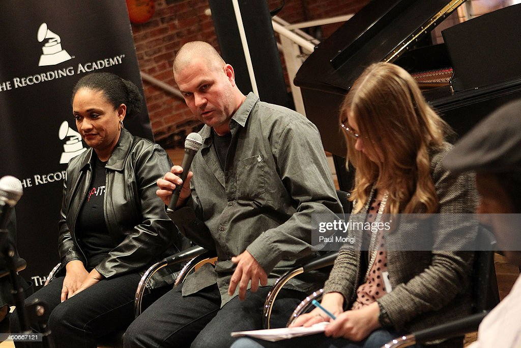 Jeff Aitkin, KIND, participates in a panel of brand representatives and artists to discuss the growing affiliations between bands and brands at Business, Beats and Inspiration: Bands & Brands at The Gibson Guitar Center on November 19, 2013 in Washington, DC.