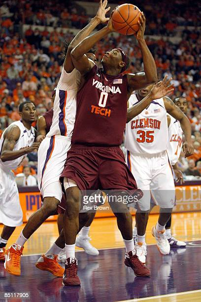 Jeff Allen of the Virginia Tech Hokies gets around in the post for this layup against the Clemson Tigers at Littlejohn Coliseum on February 25 2009...