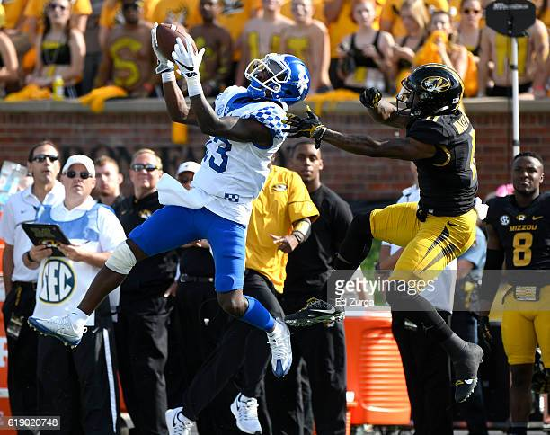 Jeff Badet of the Kentucky Wildcats picks up a first down as he catches a pass against Aarion Penton of the Missouri Tigers in the first quarter at...