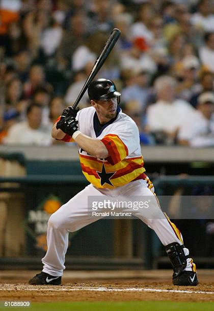 Jeff Bagwell of the Houston Astros stands ready at the plate during the inerleague game against the Texas Rangers at Minute Maid Park on July 4 2004...