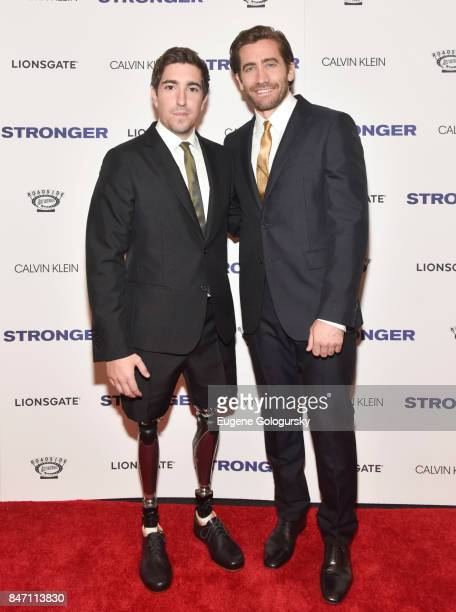Jeff Bauman and Jake Gyllenhaal attend the 'Stronger' New York Premiere at Walter Reade Theater on September 14 2017 in New York City