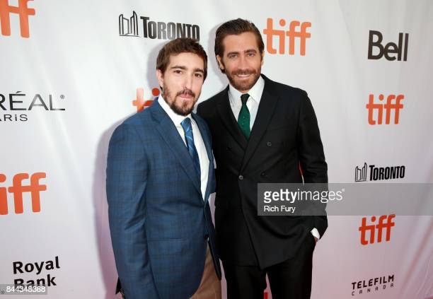Jeff Bauman and Jake Gyllenhaal attend the 'Stronger' premiere during the 2017 Toronto International Film Festival at Roy Thomson Hall on September 8...
