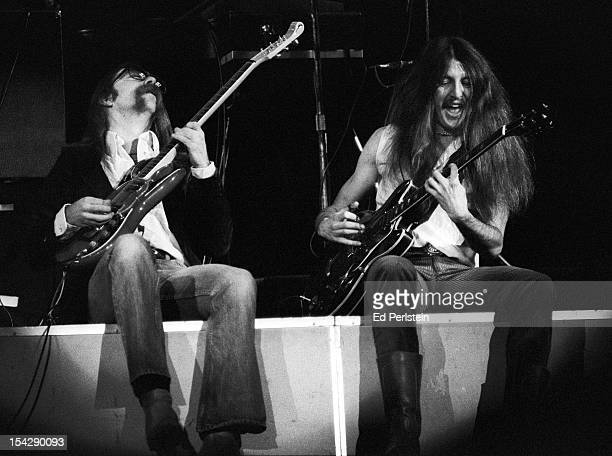 Jeff Baxter and Pat Simmons of the Doobie Brothers perform live at the Oakland Coliseum on December 30 1978 in Oakland California