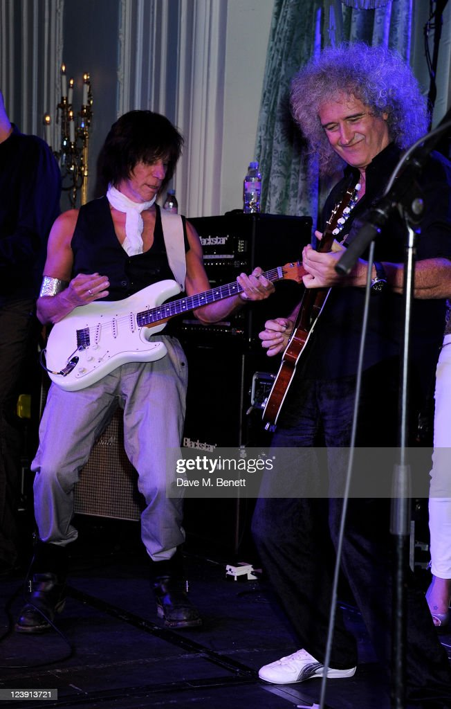 Jeff Beck (L) and Brian May perform at 'Freddie For A Day', celebrating Freddie Mercury's 65th birthday, in aid of The Mercury Pheonix Trust at The Savoy Hotel on September 5, 2011 in London, England.