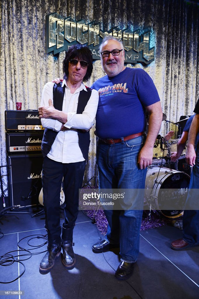 <a gi-track='captionPersonalityLinkClicked' href=/galleries/search?phrase=Jeff+Beck&family=editorial&specificpeople=213341 ng-click='$event.stopPropagation()'>Jeff Beck</a> and David Fishoff attend Rock 'n' Roll Fantasy Camp on April 20, 2013 in Las Vegas, Nevada.