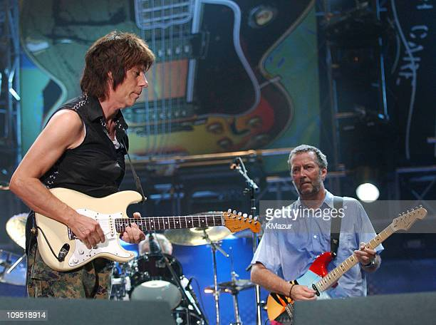 Jeff Beck and Eric Clapton during Crossroads Guitar Festival Day Three at Cotton Bowl Stadium in Dallas Texas United States