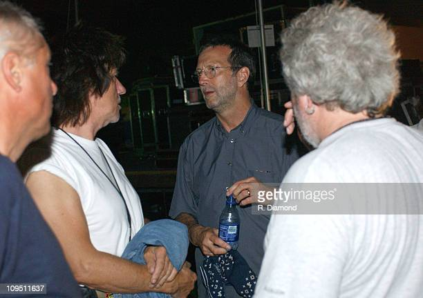 Jeff Beck and Eric Clapton during Crossroads Guitar Festival Day Two All Star Blues Jam Hosted by Eric Clapton at Fair Park in Dallas Texas United...