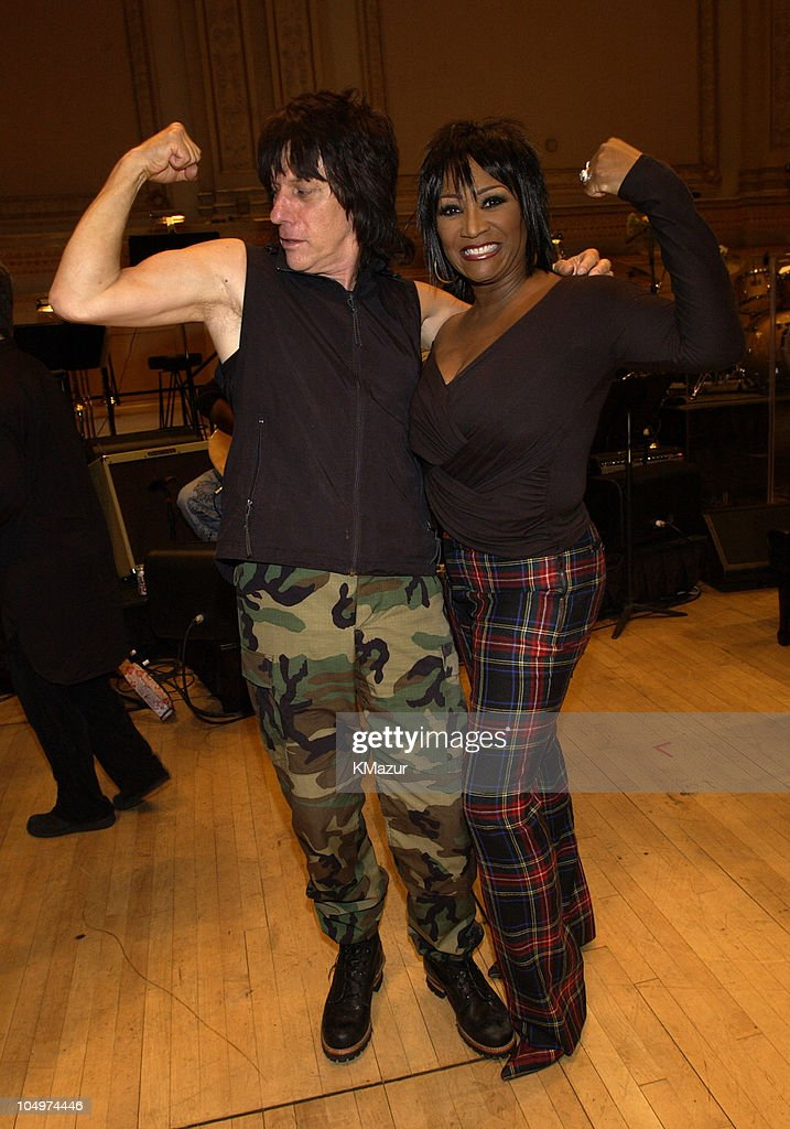 Jeff Beck and Patti LaBelle during The 12th Annual Rainforest Foundation Concert - Backstage at Carnegie Hall in New York City, New York, United States.