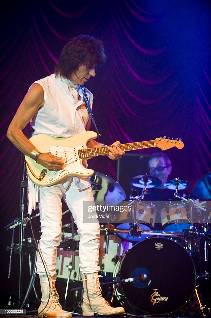 Jeff Beck and Vinnie Colaiuta perform on stage at Poble Espanyol on July 22, 2009 in Barcelona, Spain.