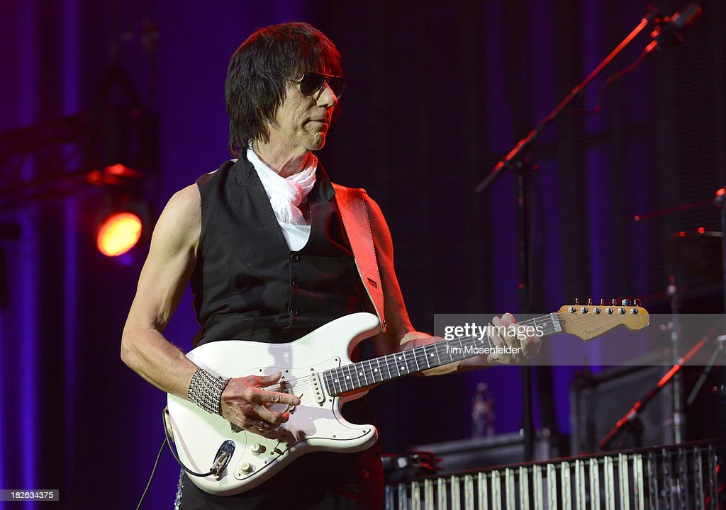 Jeff Beck of Brian Wilson and Jeff Beck performs at the Bayou Music Center on October 1, 2013 in Houston, Texas.