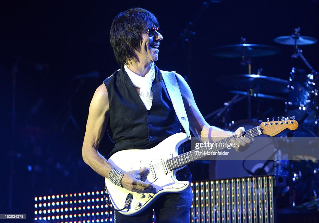 <a gi-track='captionPersonalityLinkClicked' href=/galleries/search?phrase=Jeff+Beck&family=editorial&specificpeople=213341 ng-click='$event.stopPropagation()'>Jeff Beck</a> of Brian Wilson and <a gi-track='captionPersonalityLinkClicked' href=/galleries/search?phrase=Jeff+Beck&family=editorial&specificpeople=213341 ng-click='$event.stopPropagation()'>Jeff Beck</a> performs at the Bayou Music Center on October 1, 2013 in Houston, Texas.