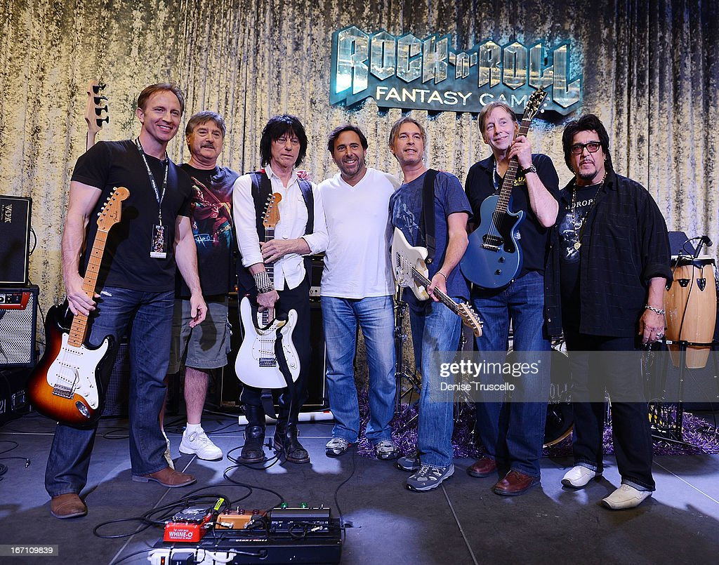 <a gi-track='captionPersonalityLinkClicked' href=/galleries/search?phrase=Jeff+Beck&family=editorial&specificpeople=213341 ng-click='$event.stopPropagation()'>Jeff Beck</a> plays guitar with Rock 'n' Roll Fantasy Camp campers on April 20, 2013 in Las Vegas, Nevada.