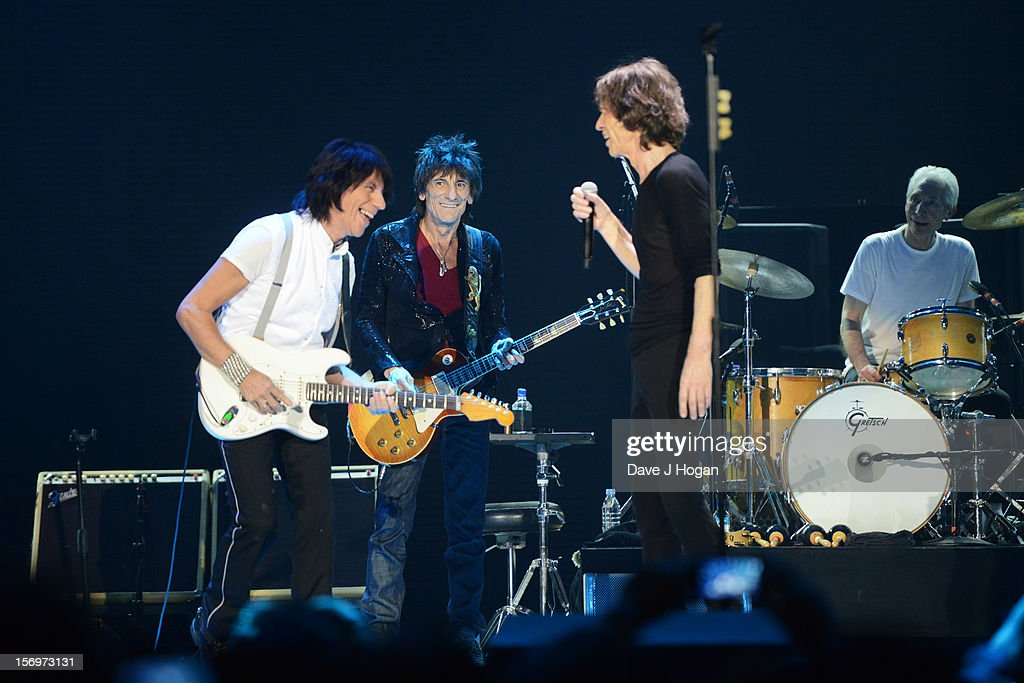 Jeff Beck, Ronnie Wood, Mick Jagger and Charlie Watts of the Rolling Stones perform at 02 Arena on November 25, 2012 in London, England.