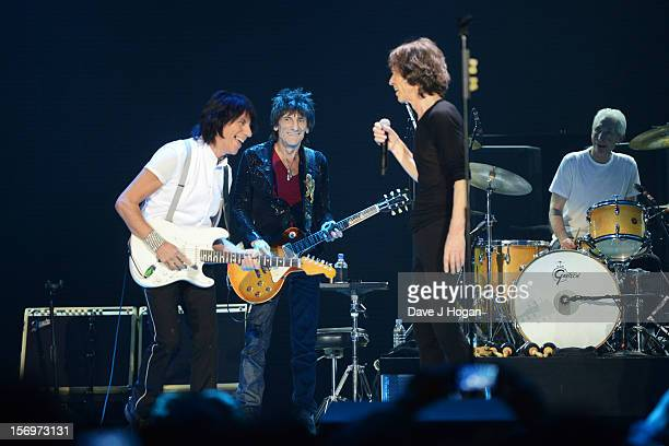 Jeff Beck Ronnie Wood Mick Jagger and Charlie Watts of the Rolling Stones perform at 02 Arena on November 25 2012 in London England