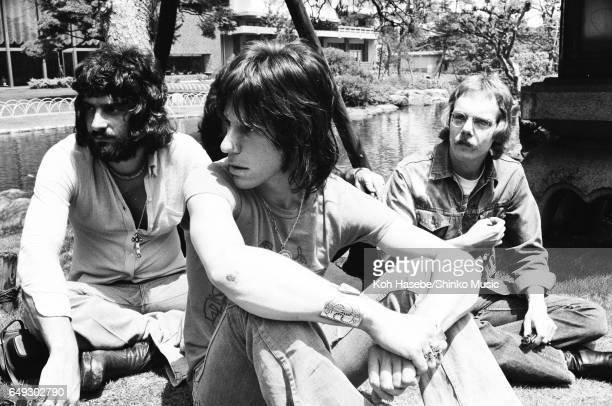 Jeff Beck Tim Bogart Carmine Appice relaxing in a Japanese garden May 1973