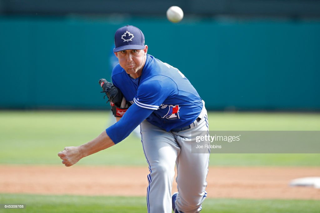 Jeff Beliveau #36 of the Toronto Blue Jays pitches against the Atlanta Braves during the spring training game at Champion Stadium on February 25, 2017 in Lake Buena Vista, Florida. The Braves defeated the Blue Jays 7-4.