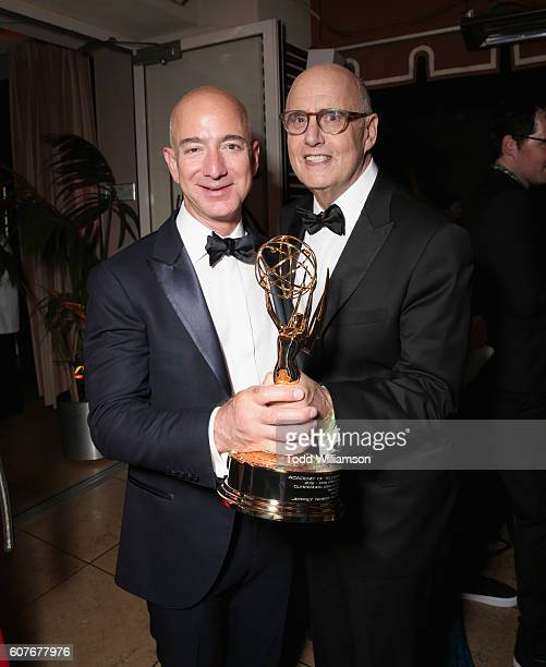 Jeff Bezos CEO of Amazoncom Inc and actor Jeffrey Tambor attend Amazon's Emmy Celebration at Sunset Tower Hotel West Hollywood on September 18 2016...