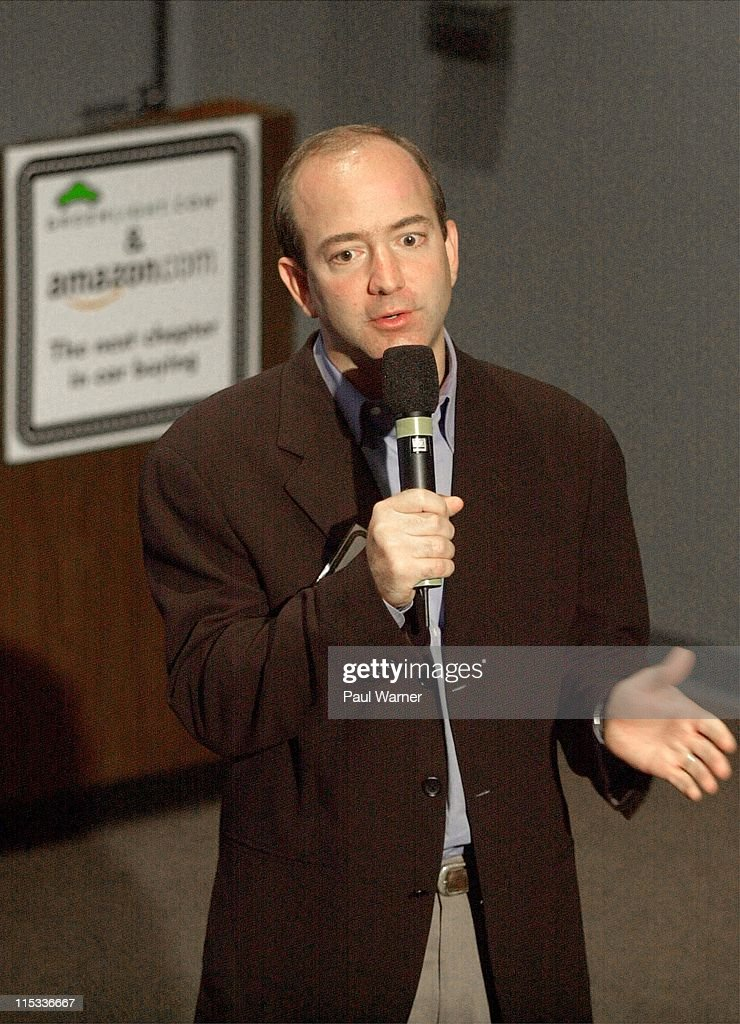 <a gi-track='captionPersonalityLinkClicked' href=/galleries/search?phrase=Jeff+Bezos&family=editorial&specificpeople=217573 ng-click='$event.stopPropagation()'>Jeff Bezos</a>, CEO of Amazon.com talks to reporters during a press conference announcing Amazon.com and Greenlight.com uniting to launch a online car buying service on Amazon, which will be provided by Greenlight, August 23, 2000.
