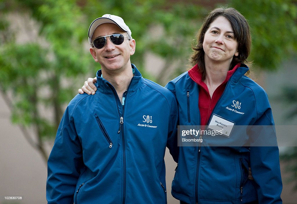 <a gi-track='captionPersonalityLinkClicked' href=/galleries/search?phrase=Jeff+Bezos&family=editorial&specificpeople=217573 ng-click='$event.stopPropagation()'>Jeff Bezos</a>, chairman, president and chief executive officer of Amazon.com Inc., and wife MacKenzie Bezos arrive for morning sessions at the 28th annual Allen & Co. Media and Technology Conference in Sun Valley, Idaho, U.S., on Saturday, July 10, 2010. Allen & Co., the boutique New York investment bank, invites executives from start-ups in media and technology to mingle with bankers and moguls at the event. The mixture, along with presentations trumpeting new business models, has led to acquisitions and investments in the past. Photographer: Matthew Staver/Bloomberg via Getty Images