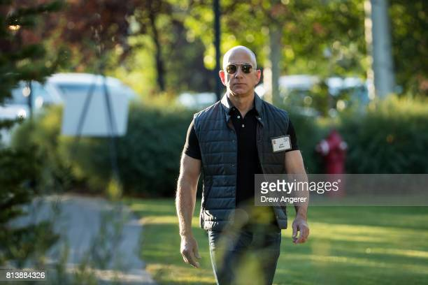 Jeff Bezos chief executive officer of Amazon arrives for the third day of the annual Allen Company Sun Valley Conference July 13 2017 in Sun Valley...