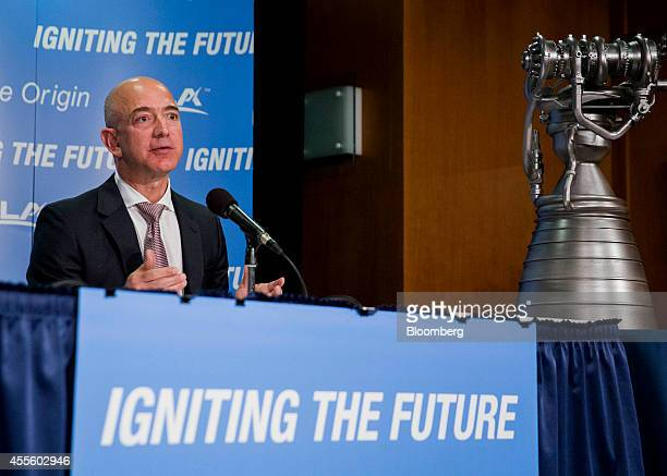 Jeff Bezos chief executive officer of Amazoncom Inc and founder of Blue Origin LLC speaks during a news conference at the National Press Club in...