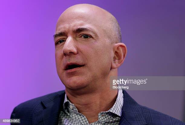 Jeff Bezos chief executive officer of Amazoncom Inc and founder of Blue Origin LLC speaks at the Ignition Future Of Digital conference in New York US...