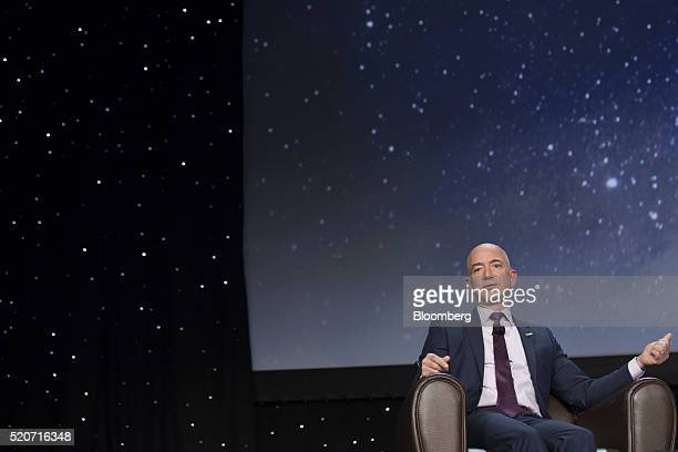 Jeff Bezos chief executive officer of Amazoncom Inc and founder of Blue Origin LLC speaks during the 32nd Space Symposium in Colorado Springs...