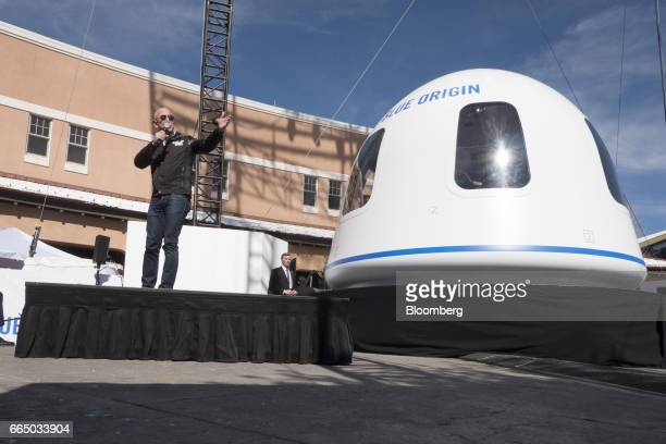 Jeff Bezos chief executive officer of Amazoncom Inc and founder of Blue Origin LLC speaks at the unveiling of the Blue Origin New Shepard system...