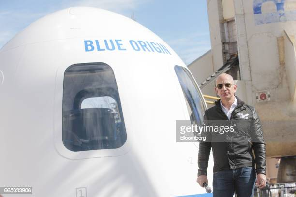 Jeff Bezos chief executive officer of Amazoncom Inc and founder of Blue Origin LLC pauses while speaking at the unveiling of the Blue Origin New...