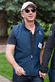 Jeff Bezos chief executive officer of Amazoncom Inc arrives for a morning session during the Allen Co Media and Technology Conference in Sun Valley...