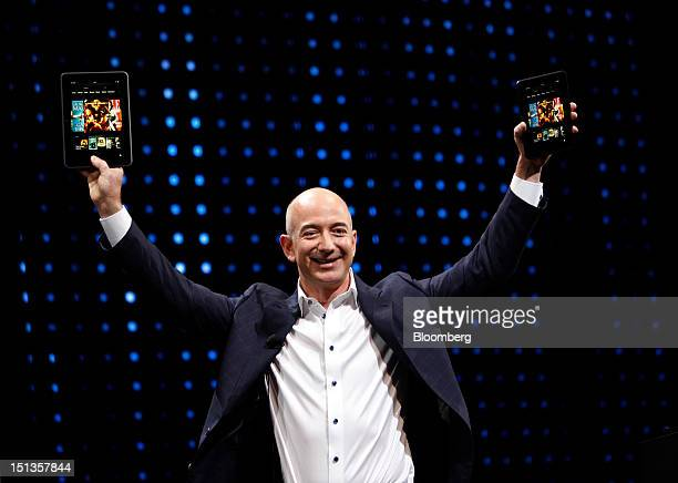 Jeff Bezos chief executive officer of Amazoncom Inc introduces two screen sizes of the Kindle Fire HD tablets at a news conference in Santa Monica...