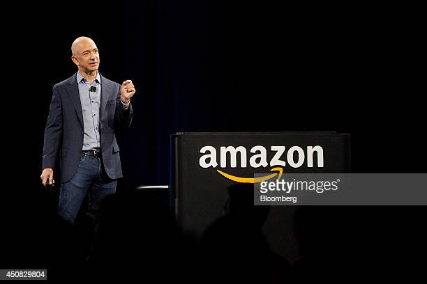 Jeff Bezos chief executive officer of Amazoncom Inc speaks after unveiling the Fire Phone during an event at Fremont Studios in Seattle Washington US...